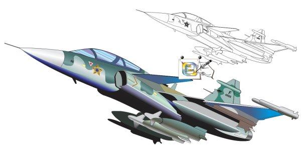 Modelo em desenho do caça Gripen NG nas cores da FAB